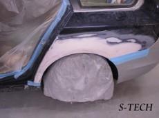 BMW,523i,5シリーズ,F11,左フロントフェンダー,左フロントドア,左リアドア,左クオータパネル,リアバンパ,キズ,凹み,部品交換,板金,修理,塗装,エステック