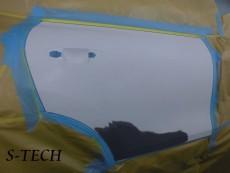 ポルシェ,カイエン,958,左リアドア,パネル,変形,割れ,板金,修理,塗装,エステック