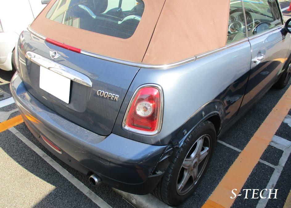 【練馬区】BMW MINI クーパーS コンバーチブル リアバンパー・右クオータパネル 傷凹み 板金修理塗装