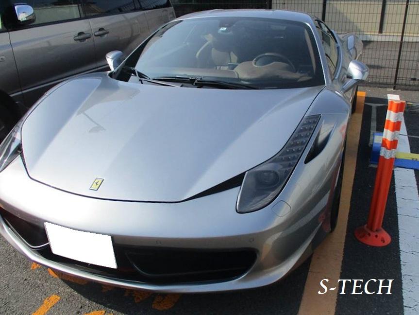 【品川区】フェラーリ 458 イタリア 右ドア・右サイドミラー キズ凹み 板金塗装