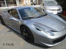フェラーリ,458,イタリア,右フロントフェンダー,右ドア,右サイドミラー,キズ,板金,塗装,修理,エステック