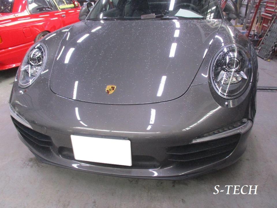 【品川区】ポルシェ 911 カレラ 991 左クオータパネル・リアバンパー キズ凹み 板金塗装