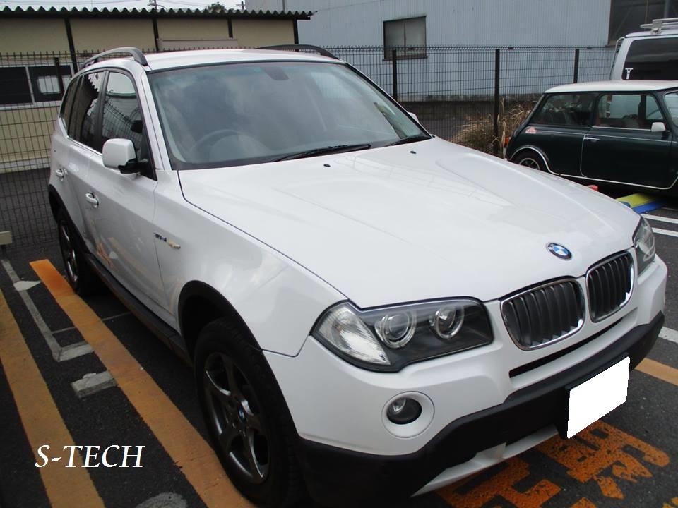 【品川区】BMW X3 E83 右側面 キズ凹み 右フロントドア・右リアドア・サイドステップ・右クオータパネル 純正パーツ 塗装交換 板金塗装