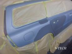 ボルボ,V70,右リアドア,右クオータパネル,リアバンパー,キズ,ヘコミ,板金,塗装,修理,エステック