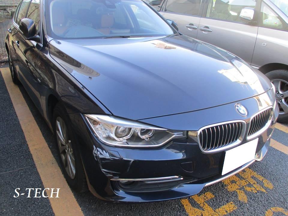 【調布市】BMW 320d F30 フロントバンパー・右ヘッドライト パーツ塗装交換 板金塗装