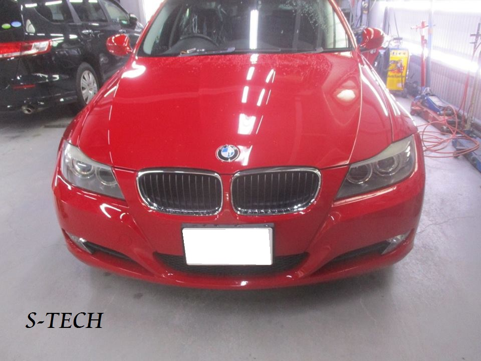【品川区】BMW 320i E90 左サイドシルカバー・左クオータパネル・左リアドア キズへこみ 板金塗装