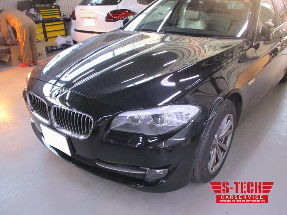 【世田谷区】BMW 523i F10 左フロント フロントバンパー・左フロントフェンダーパネル 傷凹み 板金塗装